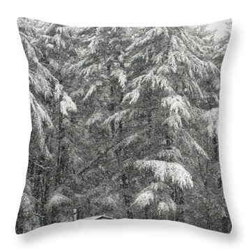 Snowstorm In The Woods Throw Pillow