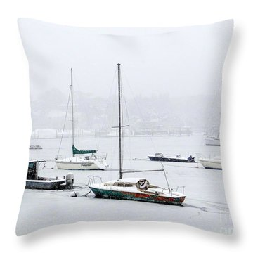 Snowstorm On Harbor Throw Pillow by Ed Weidman