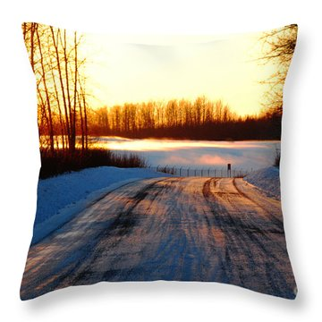 Snowy Anchorage Sunset Throw Pillow