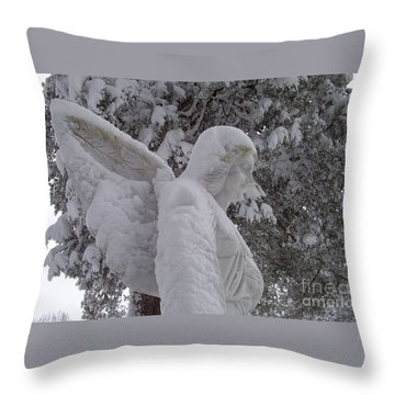 Snowy Angel Throw Pillow by Kevin Croitz