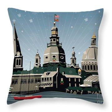 Snowy Annapolis Holiday Throw Pillow