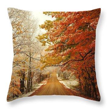 Snowy Autumn Road Throw Pillow