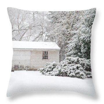 Snowy Barn Throw Pillow by Mary Timman