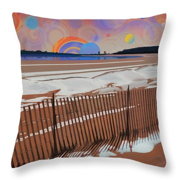 Throw Pillow featuring the photograph Snowy Beach by David Klaboe