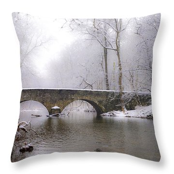 Snowy Bells Mill Road Bridge Throw Pillow by Bill Cannon