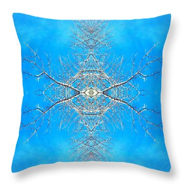 Throw Pillow featuring the photograph Snowy Branches In The Sky Abstract Art Photo by Marianne Dow