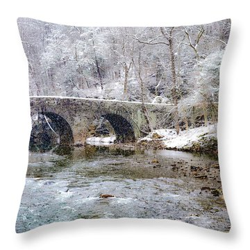 Snowy Bridge Along The Wissahickon Throw Pillow by Bill Cannon