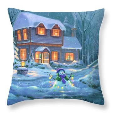 Snowy Bright Night Throw Pillow