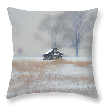 Snowy Cabin At Valley Forge Throw Pillow by Bill Cannon