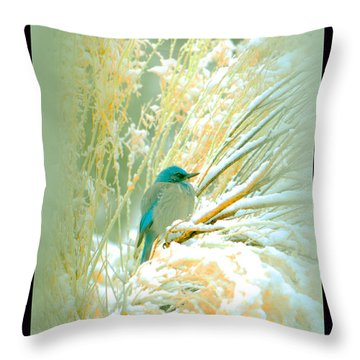 Snowy Chamisa In High Mountains Throw Pillow