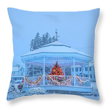 Snowy Christmas Bandstand Throw Pillow