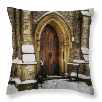 Snowy Church Door Throw Pillow
