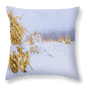 Snowy Corn Shocks - Artistic Throw Pillow