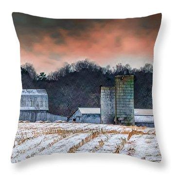 Snowy Cornfield Throw Pillow
