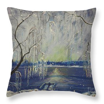 Snowy Day At The Lake Throw Pillow