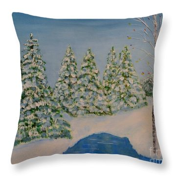 Snowy Day Throw Pillow by Melvin Turner