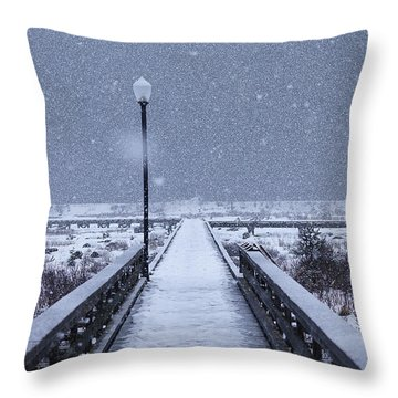 Snowy Day On The Boardwalk Throw Pillow