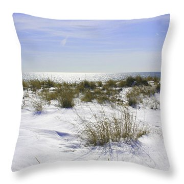 Snowy Dunes Throw Pillow by Karen Silvestri