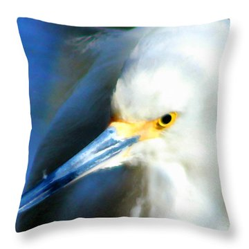 Snowy Egret 3 Throw Pillow by Timothy Bulone