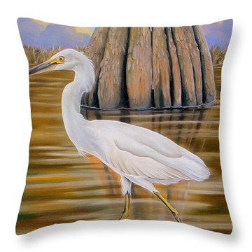 Throw Pillow featuring the painting Snowy Egret And Cypress Tree by Phyllis Beiser
