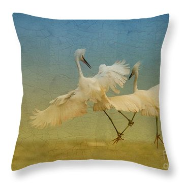 Snowy Egret Dance Throw Pillow by Deborah Benoit