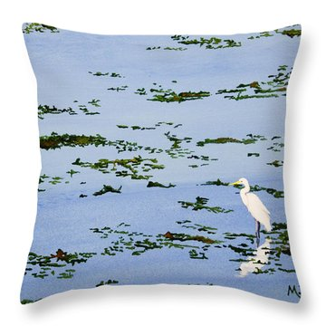 Snowy Egret Throw Pillow by Mike Robles