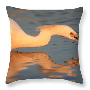 Snowy Egret Mirror Throw Pillow