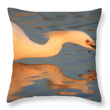 Snowy Egret Mirror Throw Pillow