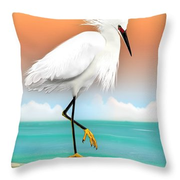 Snowy Egret White Heron On Beach Throw Pillow
