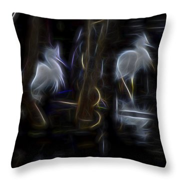 Throw Pillow featuring the digital art Snowy Egrets 1 by William Horden