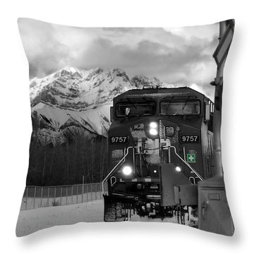 Snowy Engine Through The Rockies Throw Pillow by Lisa Knechtel