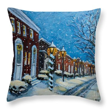 Snowy Evening In Garden Crest Throw Pillow