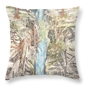 Snowy  Falls Throw Pillow