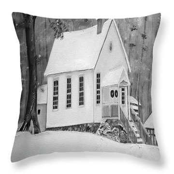 Snowy Gates Chapel -white Church - Portrait View Throw Pillow