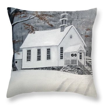 Snowy Gates Chapel  -little White Church - Ellijay Throw Pillow