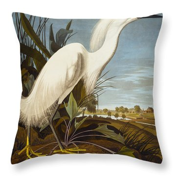 Snowy Heron Or White Egret Throw Pillow by John James Audubon