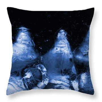 Snowy Ice Bottles - Blue Throw Pillow by Sami Tiainen