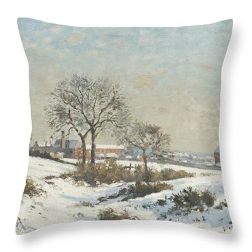 Snowy Landscape At South Norwood Throw Pillow by Camile Pissarro