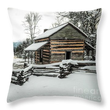 Throw Pillow featuring the photograph Snowy Log Cabin by Debbie Green