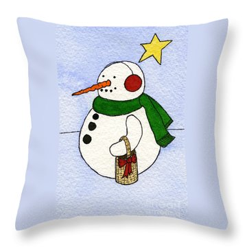 Snowy Man Throw Pillow by Norma Appleton