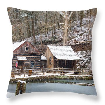 Snowy Morning In The Woods Throw Pillow