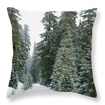 Snowy Mount Hood Forest Throw Pillow by Charmian Vistaunet