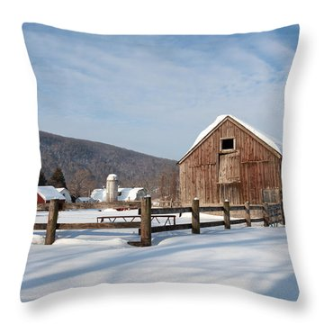 Snowy New England Barns Throw Pillow by Bill Wakeley