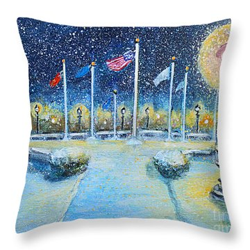 Snowy Night At The Circle Of Remembrance Throw Pillow