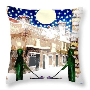 Snowy Night Throw Pillow by Patrick J Murphy