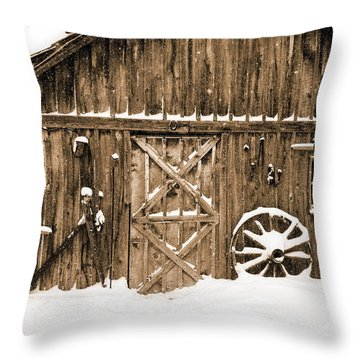 Snowy Old Barn Throw Pillow