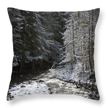 Snowy Oregon Stream Throw Pillow by Peter French