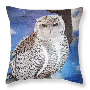 Snowy Owl . Throw Pillow by Francine Heykoop