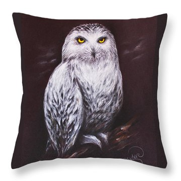 Throw Pillow featuring the drawing Snowy Owl In The Night by Patricia Lintner