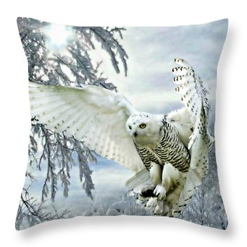 Snowy Owl Throw Pillow by Morag Bates